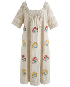 All Rhymes for Boho Floral Embroidered Dress in Linen