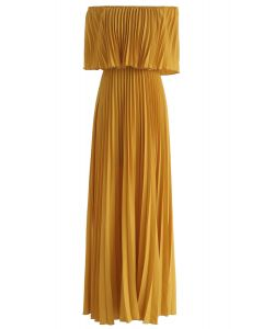 Dancing Till Dawn Off-Shoulder Pleated Maxi Dress in Mustard
