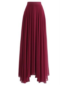 Timeless Favorite Chiffon Maxi Skirt in Wine