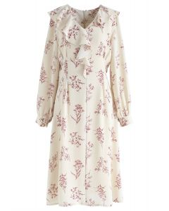 Plants Aplenty Printed Chiffon Dress in Cream