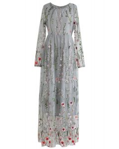 Lost in Flowering Fields Embroidered Mesh Maxi Dress in Grey
