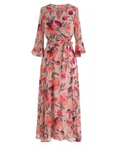 A Million Floral Dreams Print Chiffon Dress in Blush