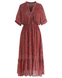 Ode to the Trip Dots Chiffon Dress in Red