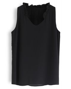 As I Am Sleeveless V-Neck Chiffon Top in Black