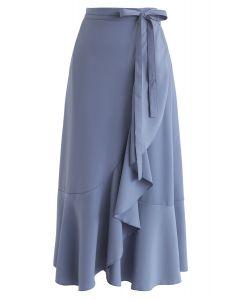 Simple Base Asymmetric Ruffle Midi Skirt in Blue