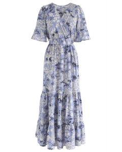 Plant Fairyland Wrap Chiffon Maxi Dress in Blue