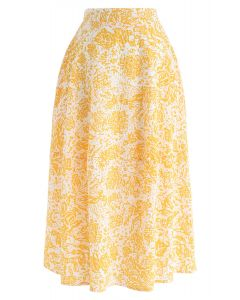Imagine More Floral Embossed A-Line Skirt in Yellow