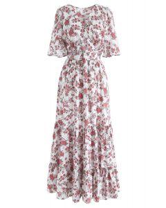 Floral Fairyland Wrap Chiffon Maxi Dress in White