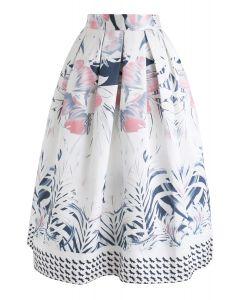 Full-Blown Flowers Printed Midi Skirt