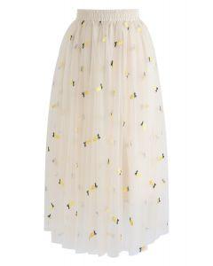 Cuteness Overload Pineapple Embroidered Mesh Skirt