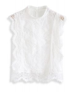 Lace is More Sleeveless Top in White