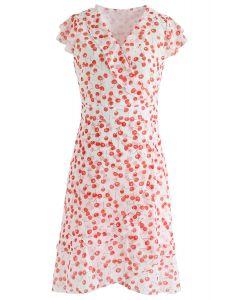 Ultra-Sweet Cherry Printed Ruffle Dress