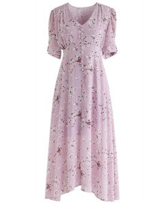 Amazing Grace Floret Chiffon Dress in Pink