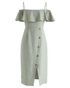 Just in The Mood Cold-Shoulder Dress in Pea Green