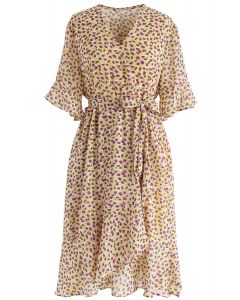 Cheerful Cherry Printed Ruffle Wrap Dress in Yellow