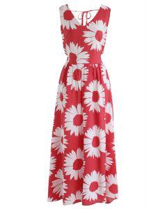 Sunflower Glow Open Back Maxi Dress in Red