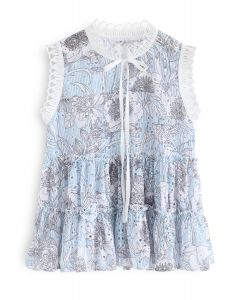 Here Comes Floral Sleeveless Eyelet Top
