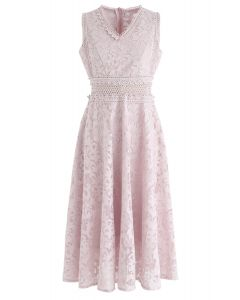 Love Me Tender Embroidered Organza Midi Dress in Pink