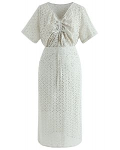 Starry Night Embroidered Eyelet Top and Skirt Set in Pea Green