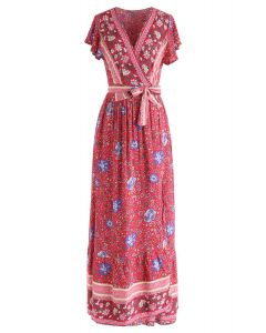 Boho Vibrant Floral Wrap Maxi Dress in Red