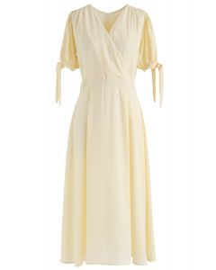 Sun in California Dots Chiffon Midi Dress in Yellow
