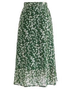 Evergreen Wildflower A-Line Chiffon Midi Skirt