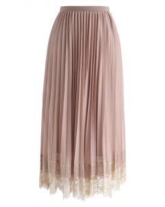 Last Dance Pleated Lace Mesh Skirt in Tan