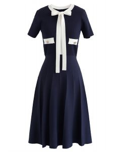 Take A Ride With Me Bowknot Knit Dress in Navy