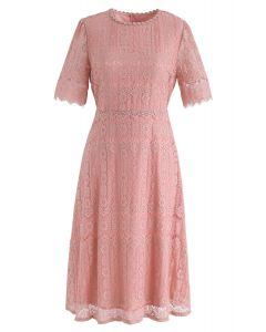 Dream Maker Lace Midi Dress in Coral