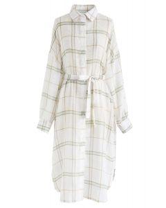 Grid Oversize Longline Shirt