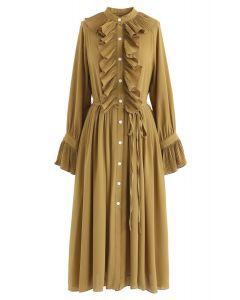 Ruffled Button Down Chiffon Dress in Mustard