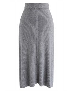 Button Front Trim Ribbed Knit Midi Skirt in Grey