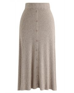 Button Front Trim Ribbed Knit Midi Skirt in Light Tan