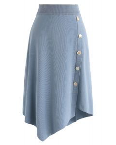 Shell Buttons Trim Asymmetric Knit Skirt in Blue