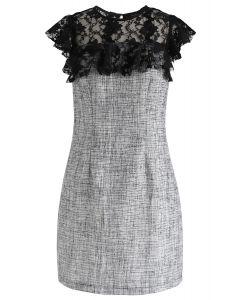 Lace Trim Ruffle Textured Dress in Black