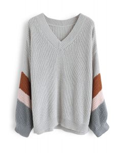 V-Neck Color Blocked Sleeves Knit Sweater in Grey