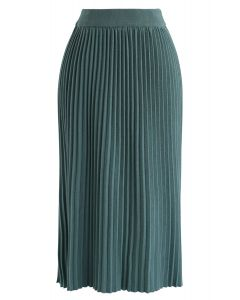 Graceful Bearing Pleated Knit Midi Skirt in Teal