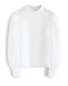 Zig Zag Feather Sheer Smock Top in White