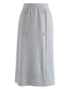 Button Trim Knit Midi Skirt in Grey