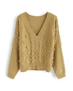 V-Neck Pom-Pom Cable Knit Sweater in Mustard