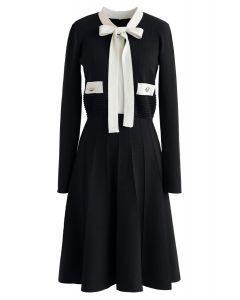 Bowknot Long Sleeves Knit Dress in Black