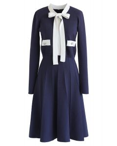Bowknot Long Sleeves Knit Dress in Navy