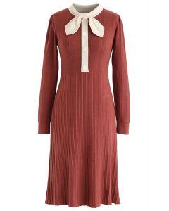 Self-Tied Bowknot Neck Knit Midi Dress in Brick Red