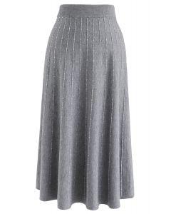 Striped Knit A-Line Midi Skirt in Grey