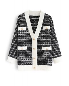 Pockets Button Trim Knit Cardigan in Black