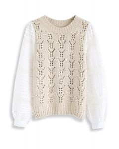 Hollow Out Spliced Sleeves Knit Top in Cream