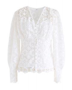 Crochet Heart V-Neck Top in White