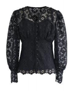 Crochet Heart V-Neck Top in Black