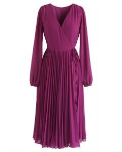 Magenta V-Neck Wrap Pleated Chiffon Dress