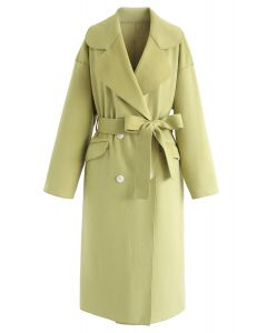 Double-Breasted Wool-Blend Belted Coat in Moss Green